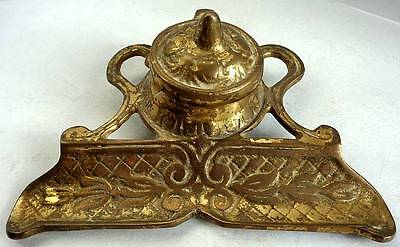 Vintage/Antique Gilt Brass Inkwell & Stand Collectable/Decorative/Desk