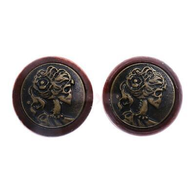Pair Brown Wood Solid Double Flared Ear Plugs Tunnels Expander Gauges Piercing