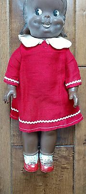 """Vintage 1950's TOPSY 12"""" Black Americana Vinyl Doll RELIABLE With Red Dress"""