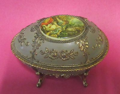 Vintage Wind up Musical Egg Metal Casket Trinket Box Made in Japan
