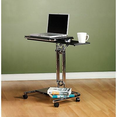 Sit or Stand Computer Workstation on Wheels Ergonomic Up Adjustable Laptop Desk
