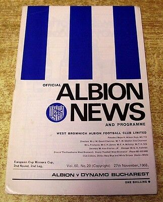 1968/69 CUP WINNERS CUP 2ND ROUND - WEST BROMWICH ALBION v DYNAMO BUCHAREST