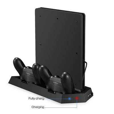 Jelly Comb PS4 Slim Vertical Stand Controller Charger with Cooling fan, PlayStat