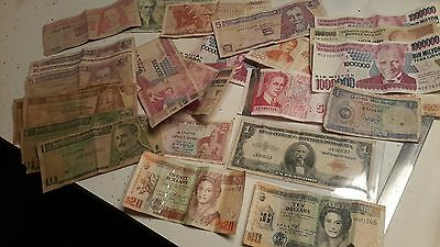 Big Lot Of World Currency-Includes $30 In Belize Notes