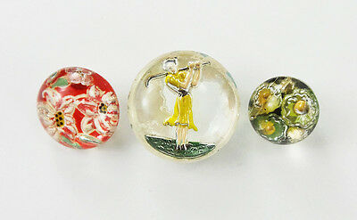 Vintage Buttons 2-Pc Czech Glass Lady Golfer and 2 Flowers Imitation Paperweight