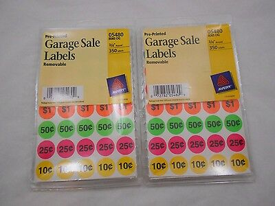 2 PACKS Avery Preprinted Removable Garage Sale Pricing Labels 3/4 Round, 5480