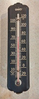 """Vintage  9"""" Ohio Metal Wall Thermometer with bracket"""