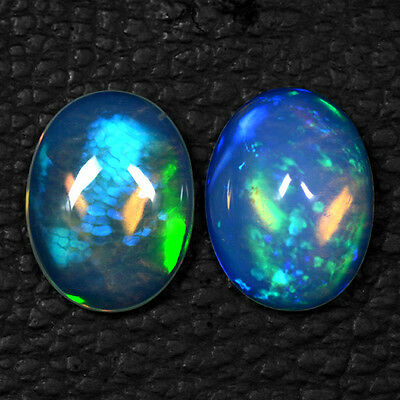 5.95 Cts Natural Top Ethiopian Opal Oval Cabochon Blue Fire Lovely Gemstone $