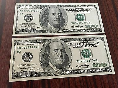 (2) 2006-A $100 Dollar KB Federal Reserve Note In Consecutive Serial #