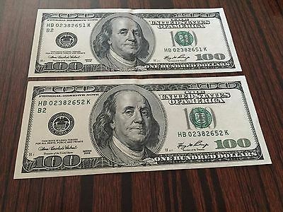 (2) 2006 $100 Dollar HB Federal Reserve Note In Consecutive Serial #