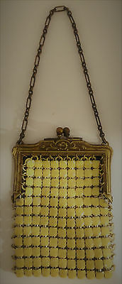 Antique Vintage Mesh Coin or Doll Purse Yellow Enameled Very Good Condition