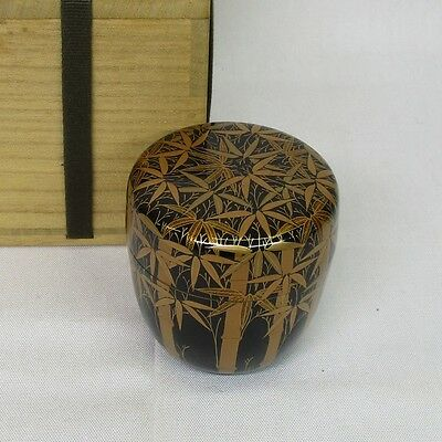 G090: Japanese lacquer ware tea container NATSUME with fine bamboo MAKIE, box