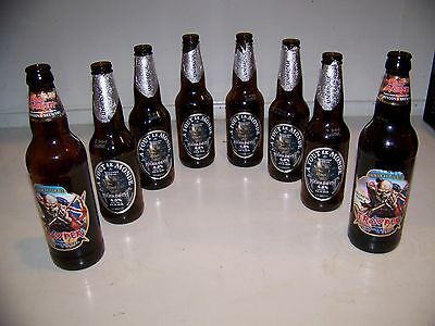 8 Empty Beer Bottle Lot - 6 MEGADETH A Tout Le Monde & 2 IRON MAIDEN TROOPER Ale