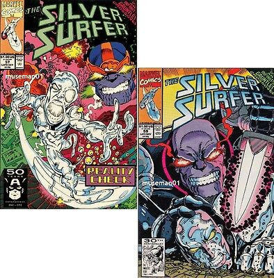 1991 SILVER SURFER #57 & #59 ~ THANOS ~ Ron Lim Covers ~ 9.6 NM+ ~ @LOOK@
