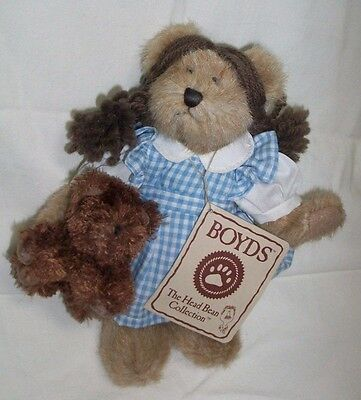 """BOYD'S BEARS The Wizard Of OZ DOROTHY BEAR PLUSH With TOTO DOG 7"""" New Tags"""