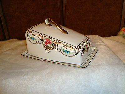 Beautiful Porcelain Wedge Shape Cheese or Butter Keeper W/ Gold Trim