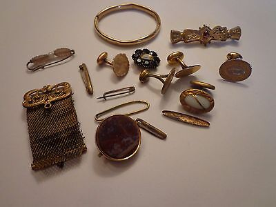 Antique Victorian Gold Filled Scrap Repair Jewelry Lot 48 Grams
