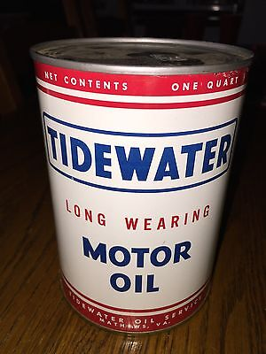 Vintage Tidewater Motor Oil Can Counter Display Empty Sealed