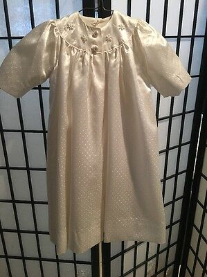 Vintage White Christening Gown W/Robe, Booties, And Cap