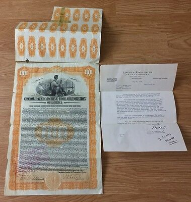 1922 Consolidated Machine Tool Corp Of America Gold Bond Stock + Stamps Delaware