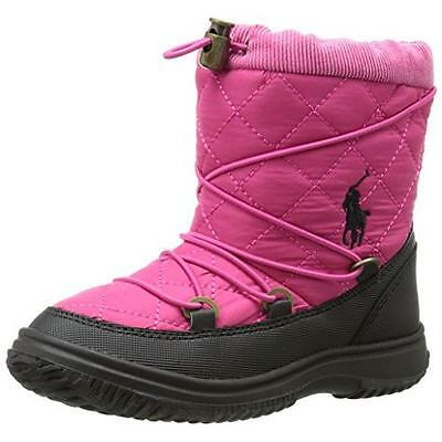 Polo Ralph Lauren 6531 Girls Orao Pink Quilted Winter Boots Shoes 5 BHFO
