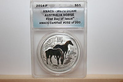 2014-P Australia Year of the Horse MS70