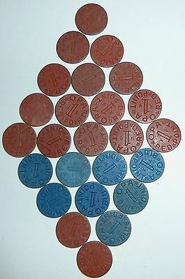 World War Ii Apo Ration Tokens Red 1 & Blue 1 25 In All