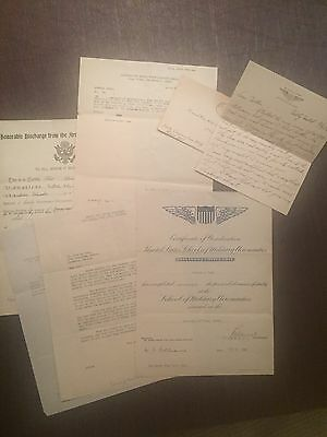Amazing Document And Letter Lot Of A WW1 US Pilot Killed In Training
