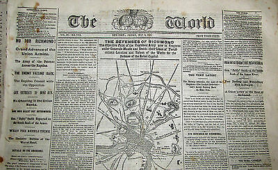 News Ny Tribune Ho For Richmond! Map Seat Of War Around Richmond Fortifications