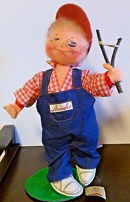 "Annalee Dolls 18"" Boy with Black Eye and Slingshot 1990 #2976"
