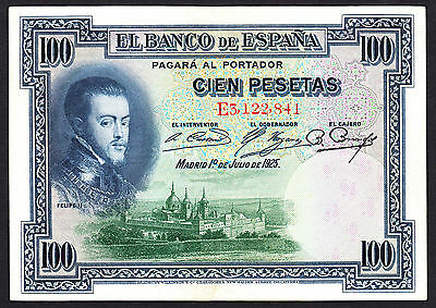 1925 SPAIN 100 PESETAS  P. 69 Crisp aEF Note