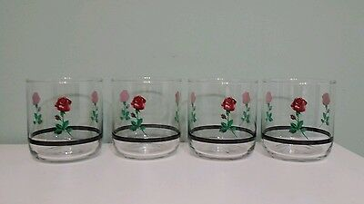 4 old fashion 8 oz. glassware roses with black stripe tienshan tietie17 htf