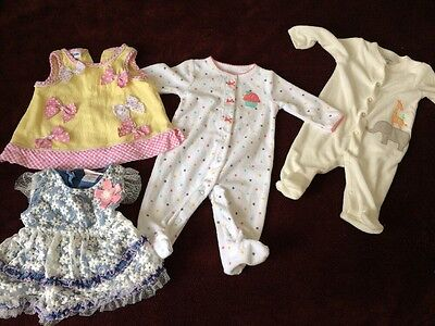 4 Pieces Baby Girl Newborn Clothing Lot Fall Winter Assorted Brands