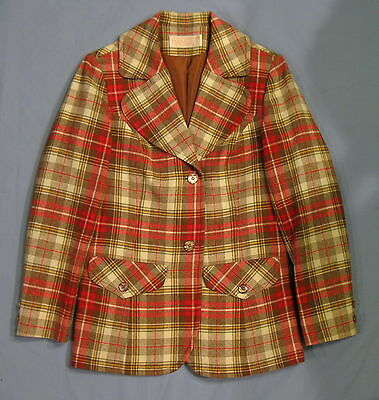 Pendleton Vintage Plaid Suit Jacket Blazer Virgin Wool Red Brown Womens 8 EUC