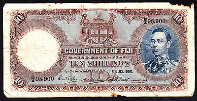 Fiji 1950 10 Shillings  George VI  P. 38a  Rare Note