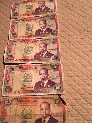 100 Shillings bank notes from Kenya (five in total)