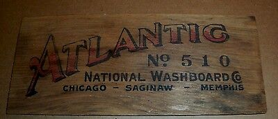 EARLY VINTAGE ATLANTIC No. 510 NATIONAL WASHBOARD CO WOODEN INSERT SIGN