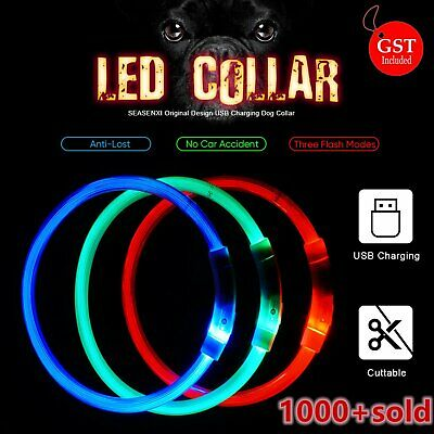 USB Rechargeable LED Dog Collar Flashing Luminous Light Up Safety Pet Collar Glo