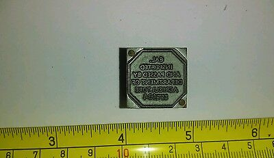 Vintage Letterpress Printing Block Department of Agriculture Passed Inspection