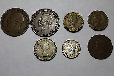 Great Britain Coin Lot - 1 Penny, 1 Shilling, Half Penny, Three Pence, Sixpence
