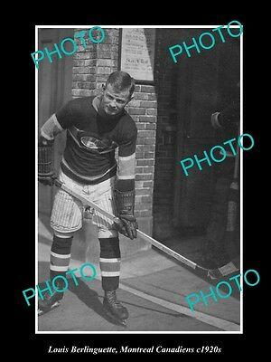 Old Historic Photo Of Ice Hockey Great Louis Berlinguette Montreal Canadiens