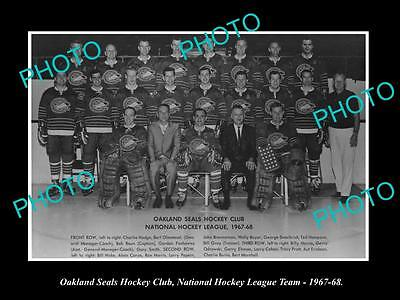 Old Large Historic Photo Of The 1967 Oakland Seals Ice Hockey Nhl Team