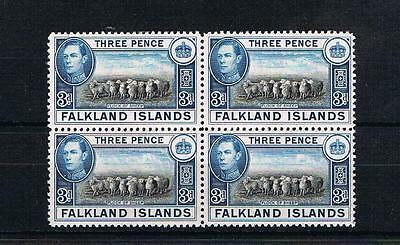 falkland islands GVI 3d mint block [mounted on one stamp] cat £28
