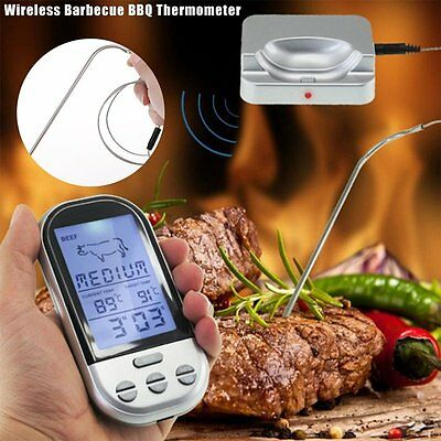 Digital Wireless Barbecue BBQ Meat Thermometer Remote Grill Cooking Probe ET5#
