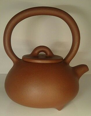 Old 20th C Artist Seal Mark Signed Chinese Zisha Yixing Teapot With Bail Handle