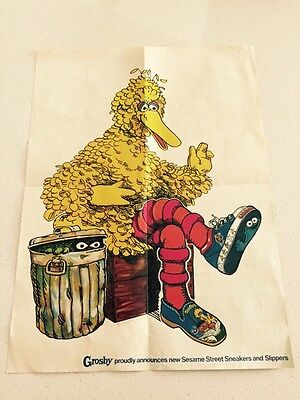 Vintage 1970s Grosby Poster Featuring Big Bird And Oscar The Grouch