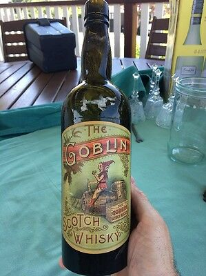 Antique Vintage The Goblin Scotch Whiskey Paper Labelled Bottle