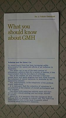July 1975 Holden Gmh Vehicle Emissions Owner Handbook Manual Rare Owners
