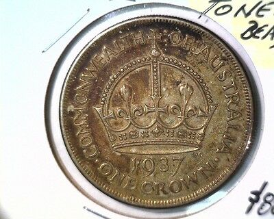 1937 M Australia Silver Crown Coin KM#34 UNCIRCULATED & BEAUTIFULLY TONED