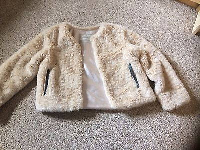 Girls Beige Faux Fur Coat Immaculate Condition Size 6-7